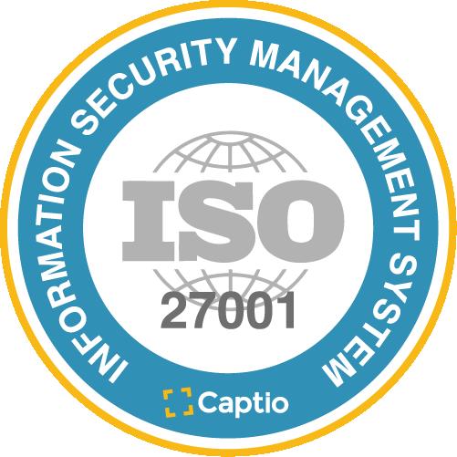 Captio reçoit la certification selon la norme de sécurité ISO/IEC 27001